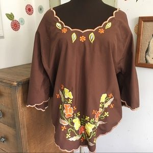 Vintage Bohemian Hippie Blouse Embroidered Bell